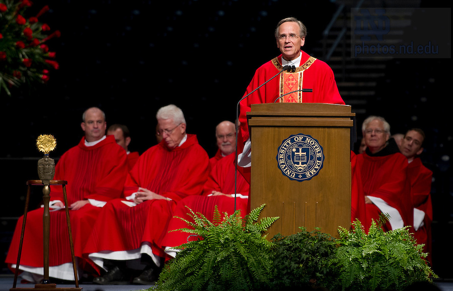 August 21, 2012; Rev. John I. Jenkins, C.S.C., president of the University of Notre Dame, delivers the homily during opening Mass in the Purcell Pavilion. Photo by Barbara Johnston/University of Notre Dame