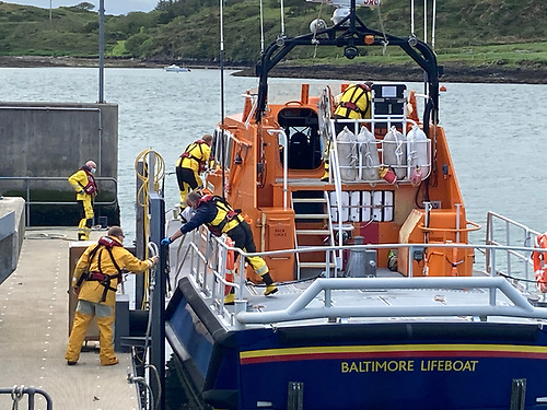 Baltimore all-weather lifeboat about to depart the station on the callout to Sherkin Island