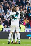 Real Madrid Gareth Bale and Luka Modric celebrating a goal during La Liga match between Real Madrid and R. C. Deportivo at Santiago Bernabeu Stadium in Madrid, Spain. January 18, 2018. (ALTERPHOTOS/Borja B.Hojas)