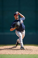 Atlanta Braves pitcher Tanner Allison (20) delivers a pitch during an Instructional League game against the Baltimore Orioles on September 25, 2017 at Ed Smith Stadium in Sarasota, Florida.  (Mike Janes/Four Seam Images)