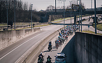 peloton rolling out of Kuurne<br /> <br /> 70th Kuurne-Brussel-Kuurne 2018<br /> Kuurne › Kuurne: 200km (BELGIUM)