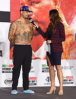 LOS ANGELES, CA - APRIL 30: Fox Sports reporter Heidi Androl interviews Chris Arreola following the official weigh-in for the Andy Ruiz Jr. vs Chris Arreola Fox Sports PBC Pay-Per-View in Los Angeles, California on April 30, 2021. The PPV fight is on May 1, 2021 at Dignity Health Sports Park in Carson, CA. (Photo by Frank Micelotta/Fox Sports/PictureGroup)