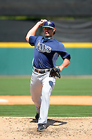 Tampa Bay Rays pitcher Josh Lueke #52 delivers a pitch during a Spring Training game against the Detroit Tigers at Joker Marchant Stadium on March 29, 2013 in Lakeland, Florida.  (Mike Janes/Four Seam Images)