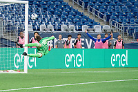 FOXBOROUGH, MA - JUNE 26: New England Revolution II  players react to the team's second goal during a game between North Texas SC and New England Revolution II at Gillette Stadium on June 26, 2021 in Foxborough, Massachusetts.