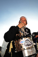 Nov. 13, 2011; Pomona, CA, USA; NHRA top fuel dragster driver Del Worsham celebrates after clinching the world championship at the Auto Club Finals at Auto Club Raceway at Pomona. Mandatory Credit: Mark J. Rebilas-.