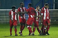 Clapton players celebrate their sixth goal during Redbridge vs Clapton, Essex Senior League Football at Oakside Stadium on 31st January 2020