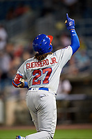 Buffalo Bisons third baseman Vladimir Guerrero Jr. (27) points to the sky after hitting a home run in the top of the seventh inning during a game against the Syracuse Chiefs on September 2, 2018 at NBT Bank Stadium in Syracuse, New York.  Syracuse defeated Buffalo 4-3.  (Mike Janes/Four Seam Images)