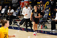 BERKELEY, CA - DECEMBER 13: Head coach Tara VanDerveer of the Stanford Cardinal talks with Hannah Jump #33 during a game between University of California-Berkeley and Stanford Women's Basketball at Haas Pavilion on December 13, 2020 in Berkeley, California.
