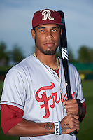 Frisco RoughRiders outfielder Nick Williams (1) poses for a photo before a game against the Springfield Cardinals on June 4, 2015 at Hammons Field in Springfield, Missouri.  Frisco defeated Springfield 8-7.  (Mike Janes/Four Seam Images)