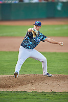 Justin Bruihl (45) of the Ogden Raptors delivers a pitch during a game against the Orem Owlz at Lindquist Field on August 3, 2018 in Ogden, Utah. The Raptors defeated the Owlz 9-4. (Stephen Smith/Four Seam Images)