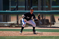 AZL White Sox first baseman Tyler Osik (17) catches a throw during an Arizona League game against the AZL Athletics Gold on July 4, 2019 at Camelback Ranch in Glendale, Arizona. The AZL White Sox defeated the AZL Athletics Gold 6-2. (Zachary Lucy/Four Seam Images)