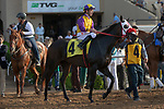 DEL MAR, CA  AUGUST 18:  #4 Ollie's Candy, ridden by Tyler Baze,in the post parade of the Del Mar Oaks Presented by The Jockey Club (Grade 1) on August 18, 2018 at Del Mar Thoroughbred Club in Del Mar, CA.(Photo by Casey Phillips/Eclipse Sportswire/Getty Images
