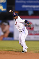 Binghamton Mets second baseman Dilson Herrera (20) throws to first during a game against the Bowie Baysox on August 3, 2014 at NYSEG Stadium in Binghamton, New York.  Bowie defeated Binghamton 8-2.  (Mike Janes/Four Seam Images)