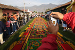 Dyed sawdust carpet ready for Good Friday's procession during Semana Santa(Holy week)in Antigua. Guatemala