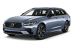 2021 Volvo V90-Recharge R-Design 5 Door Wagon Angular Front automotive stock photos of front three quarter view