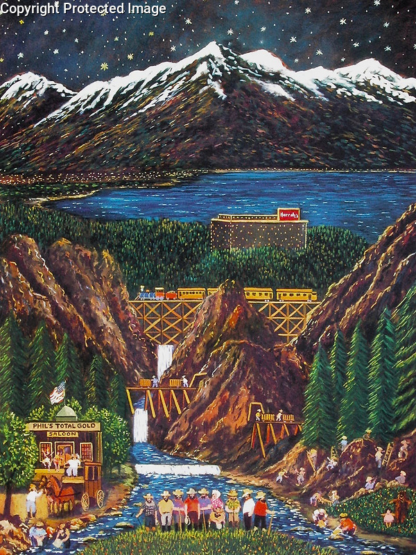 """""""Phil's Total Gold Saloon""""<br /> 20x16 Lithograph on Paper<br /> <br /> $650<br /> Commissioned by Harrah's Lake Tahoe<br /> Phils is Guy's imaginary gold mining post!"""
