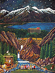 """""""Phil's Total Gold Saloon""""<br /> Lithograph on Paper<br /> <br /> $650<br /> Commissioned by Harrah's Lake Tahoe<br /> Phils is Guy's imaginary gold mining post!"""
