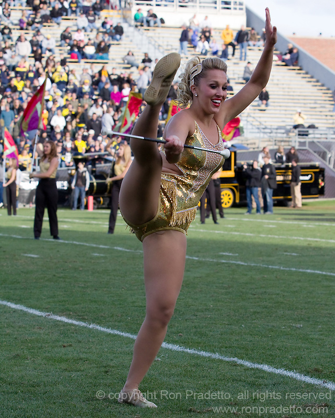 Purdue Golden Girl MerrieBeth Cox. The Michigan Wolverines defeated the Purdue Boilermakers 44-13 on October 6, 2012 at Ross-Ade Stadium in West Lafayette, Indiana.