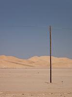 A telegraph pole in the Namib Desert, Namibia