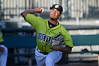 Starting pitcher Jose Butto (45) of the Columbia Fireflies warms up before a game against the Delmarva Shorebirds on Thursday, May 2, 2019, at Segra Park in Columbia, South Carolina. (Tom Priddy/Four Seam Images)
