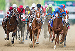 May 2, 2014: Calvin Borel (right)leads the pack going into the first turn of the 140th Kentucky Oaks at Churchill Downs in Louisville, KY. Logan Riely/ESW/CSM