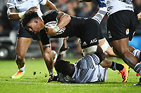 17th July 2021; Hamilton, New Zealand;  Ardie Savea goes over the line and scores a try for All Blacks. All Blacks versus Fiji, Steinlager Series, international rugby union test match. FMG Stadium Waikato, Hamilton, New Zealand.
