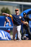 Houston Astros third baseman Matt Dominguez (30) during a Spring Training game against the Toronto Blue Jays on March 9, 2015 at Florida Auto Exchange Stadium in Dunedin, Florida.  Houston defeated Toronto 1-0.  (Mike Janes/Four Seam Images)