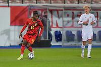 Eliot Matazo (15) of Belgium pictured during a soccer game between the national teams Under21 Youth teams of Belgium and Denmark on the fourth matday in group I for the qualification for the Under 21 EURO 2023 , on tuesday 12 th of october 2021  in Leuven , Belgium . PHOTO SPORTPIX   STIJN AUDOOREN