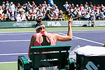 March 8, 2019: Jennifer Brady (USA) laces up her shoes during her match where she defeated Caroline Garcia (ESP) 6-3, 3-6, 6-0 at the BNP Paribas Open at the Indian Wells Tennis Garden in Indian Wells, California. ©Mal Taam/TennisClix/CSM