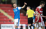 St Johnstone v Hamilton Accies…28.03.18…  McDiarmid Park    SPFL<br />Steven MacLean gives the thumbs up to George Williams<br />Picture by Graeme Hart. <br />Copyright Perthshire Picture Agency<br />Tel: 01738 623350  Mobile: 07990 594431