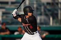 Modesto Nuts shortstop Bryson Brigman (8) at bat during a California League game against the San Jose Giants at John Thurman Field on May 9, 2018 in Modesto, California. San Jose defeated Modesto 9-5. (Zachary Lucy/Four Seam Images)