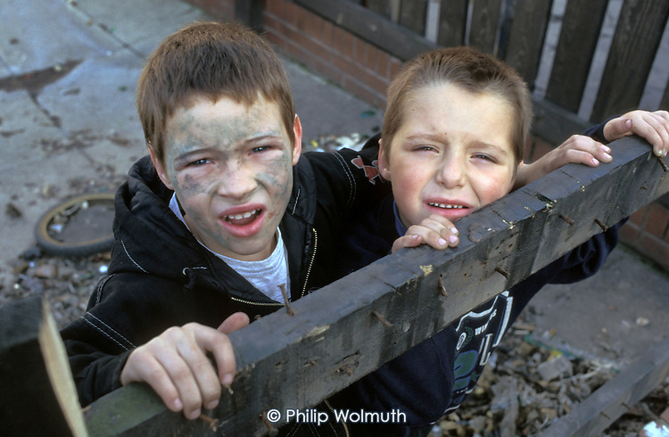 Children in the former pit village of Grimethorpe, South Yorkshire, which has undergone serious decline since its colliery closed in 1993.