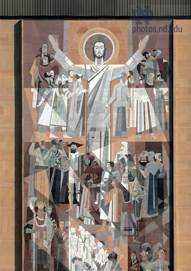 Word of Life mural on Hesburgh Library.  Known as Touchdown Jesus.<br /> <br /> Photo by Matt Cashore/University of Notre Dame