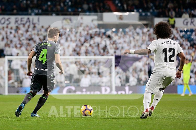 Real Madrid's Marcelo Vieira and Real Sociedad's Asier Illarramendi during La Liga match between Real Madrid and Real Sociedad at Santiago Bernabeu Stadium in Madrid, Spain. January 06, 2019. (ALTERPHOTOS/A. Perez Meca)<br />  (ALTERPHOTOS/A. Perez Meca)