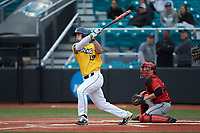 Mike Ferrara (19) of the UNCG Spartans follows through on his swing against the San Diego State Aztecs at Springs Brooks Stadium on February 16, 2020 in Conway, South Carolina. The Spartans defeated the Aztecs 11-4.  (Brian Westerholt/Four Seam Images)