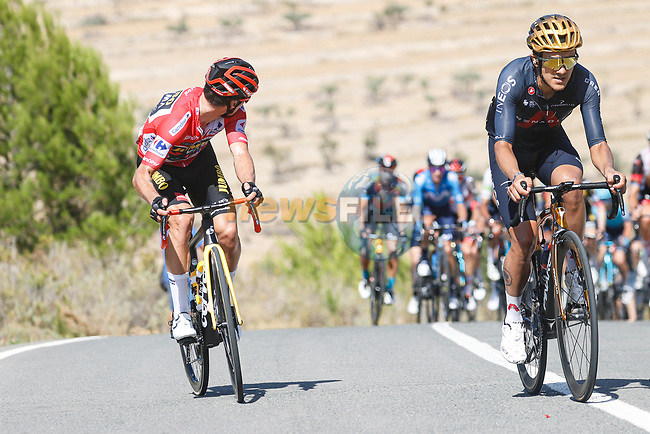 Race leader Red Jersey Primoz Roglic (SLO) Jumbo-Visma and Olympic Champion Richard Carapaz (ECU) Ineos Grenadiers attack during Stage 7 of La Vuelta d'Espana 2021, running 152km from Gandia to Balcon de Alicante, Spain. 20th August 2021.     <br /> Picture: Luis Angel Gomez/Photogomezsport   Cyclefile<br /> <br /> All photos usage must carry mandatory copyright credit (© Cyclefile   Luis Angel Gomez/Photogomezsport)