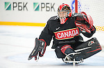 Sochi, RUSSIA - Mar 9 2014 -  Corbin Watson makes a save during Canada vs. Norway at the 2014 Paralympic Winter Games in Sochi, Russia.  (Photo: Matthew Murnaghan/Canadian Paralympic Committee)