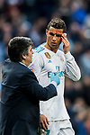 Cristiano Ronaldo of Real Madrid left the pitch injured as he was kicked close to his left eye by Fabian Lukas Schar of RC Deportivo La Coruna during the La Liga 2017-18 match between Real Madrid and RC Deportivo La Coruna at Santiago Bernabeu Stadium on January 21 2018 in Madrid, Spain. Photo by Diego Gonzalez / Power Sport Images