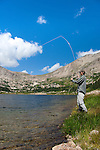 man, fisherman, fly-fishing at Lawn Lake below Fairchild Mountain, summer, August, Rocky Mountain National Park, Colorado, USA, model released #93,