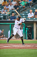Jose Rojas (19) of the Salt Lake Bees at bat against the Sacramento River Cats at Smith's Ballpark on August 16, 2021 in Salt Lake City, Utah. The Bees defeated the River Cats 6-0. (Stephen Smith/Four Seam Images)