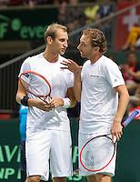 Switserland, Genève, September 19, 2015, Tennis,   Davis Cup, Switserland-Netherlands, Doubles:  Dutch team Thiemo de Bakker/Matwe Middelkoop (R)<br /> Photo: Tennisimages/Henk Koster