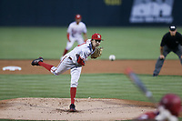 Nebraska Chance Hroch (13) pitches, Saturday, June 5, 2021 during the first inning in the second game of the NCAA Fayetteville Regional at Baum-Walker Stadium in Fayetteville. Check out nwaonline.com/210606Daily/ for today's photo gallery. <br /> (NWA Democrat-Gazette/Charlie Kaijo)