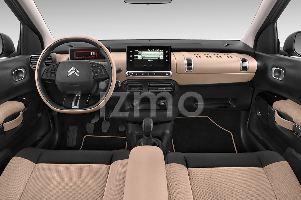 Stock photo of straight dashboard view of a 2014 Citroen C4 CACTUS Shine Edition Midnight 5 Door Mini Van 2WD Dashboard