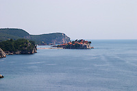The Sveti Stefan Saint Steven island on the Budva Riviera. Montenegro, Balkan, Europe.