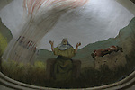 Israel, Jezreel valley. A wall painting of Prophet Elijah at the Franciscan Church of the Transfiguration on Mount Tabor, designed by architect Antonio Barluzzi