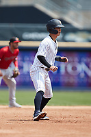 Hoy Park (41) of the Scranton/Wilkes-Barre RailRiders takes his lead off of second base against the Rochester Red Wings at PNC Field on July 25, 2021 in Moosic, Pennsylvania. (Brian Westerholt/Four Seam Images)