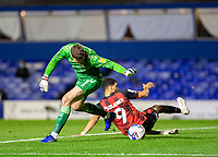 2nd October 2020; St Andrews Stadium, Coventry, West Midlands, England; English Football League Championship Football, Coventry City v AFC Bournemouth; Coventry City Goalkeeper Marko Marosi misses the ball during a back pass as Dominic Solanke of AFC Bournemouth comes in for a sliding tackle