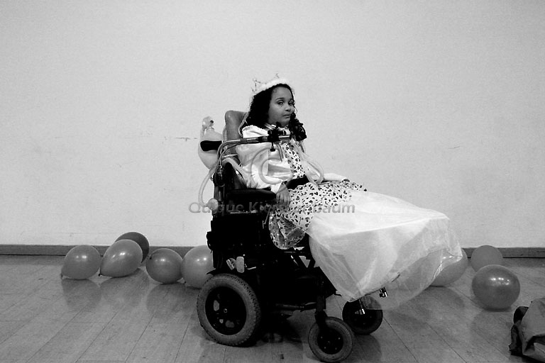Maryia Aman is seen at her 6s birthday party, in Alin, a rehabilitation hospital in Jerusalem August 30, 2007. An Israeli rehabilitation centre is defying an order from the Defense Ministry to transfer Maria, who was paralysed from the neck down after Israeli attack on militants in Gaza in May last year, to a Palestinian hospital in the West Bank. She had been traveling in a vehicle with her mother, grandmother and older brother, who were killed. Photo by Quique Kierszenbaum