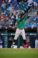 Norfolk Tides Mason Williams (9) bats during an International League game against the Buffalo Bisons on June 21, 2019 at Sahlen Field in Buffalo, New York.  Buffalo defeated Norfolk 1-0, the second game of a doubleheader.  (Mike Janes/Four Seam Images)