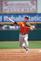 Norfolk Tides second baseman Corban Joseph (5) throws to first during a game against the Rochester Red Wings on July 17, 2016 at Frontier Field in Rochester, New York.  Rochester defeated Norfolk 3-2.  (Mike Janes/Four Seam Images)